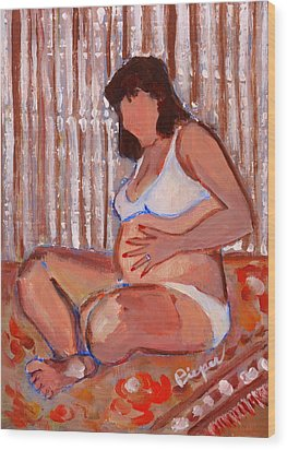Pregnant And Proud Wood Print by Elzbieta Zemaitis