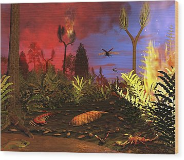 Prehistoric Forest Fire, Artwork Wood Print by Walter Myers