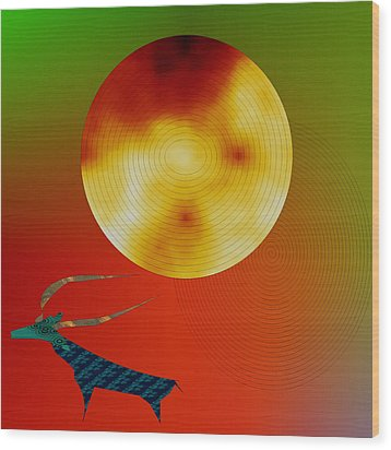 Wood Print featuring the digital art Prehistoric Stag by Asok Mukhopadhyay