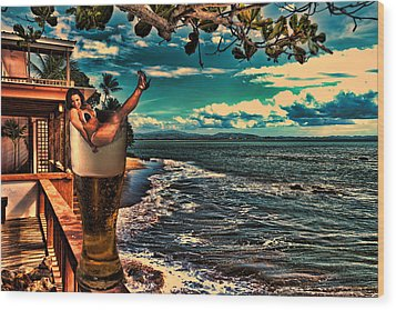 Premium Lager On The Veranda Wood Print by Frank Feliciano