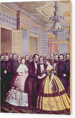 President Abraham Lincoln And First Wood Print by Everett