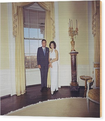 President And Jacqueline Kennedy Wood Print by Everett
