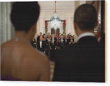 President And Michelle Obama Face White Wood Print by Everett