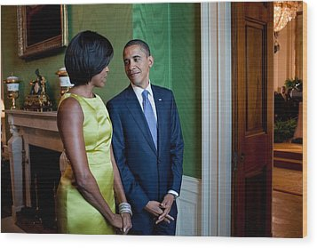 President And Michelle Obama Wait Wood Print by Everett