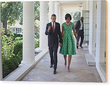 President And Michelle Obama Walk Wood Print by Everett