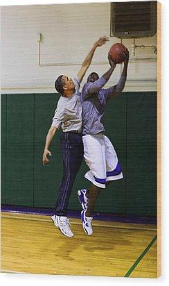 President Barack Obama Blocks A Shot Wood Print by Everett