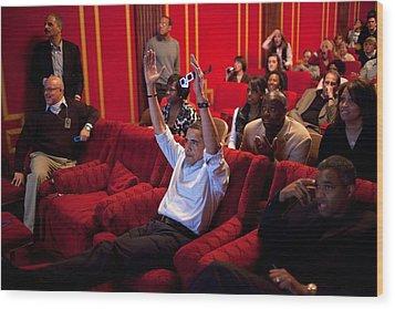 President Barack Obama Celebrates Wood Print by Everett