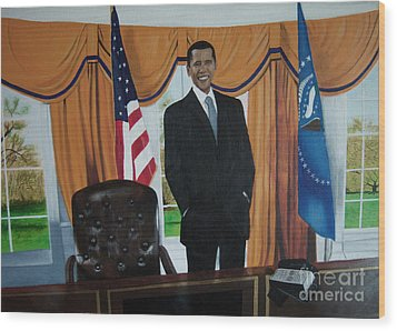 President Barack Obama Wood Print by Chelle Brantley