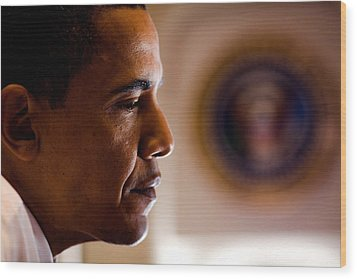 President Barack Obama During An Wood Print by Everett