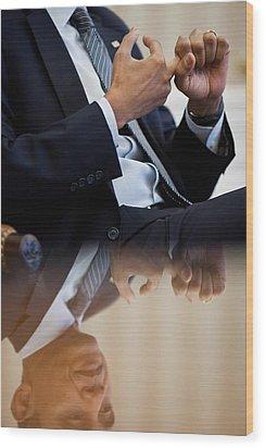 President Barack Obama Gestures Wood Print by Everett