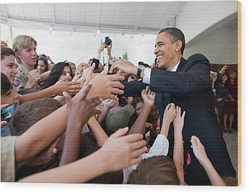 President Barack Obama Greets Young Wood Print by Everett