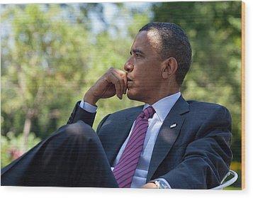 President Barack Obama Is Briefed Wood Print by Everett