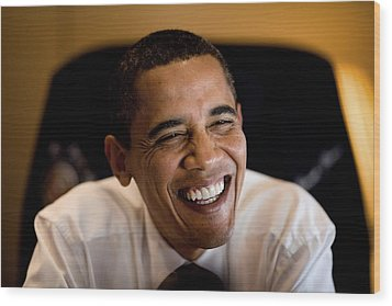 President Barack Obama Laughs During An Wood Print by Everett