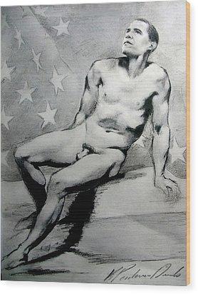 President Barack Obama Nude Study Wood Print