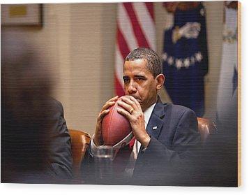 President Barack Obama Pensively Holds Wood Print by Everett