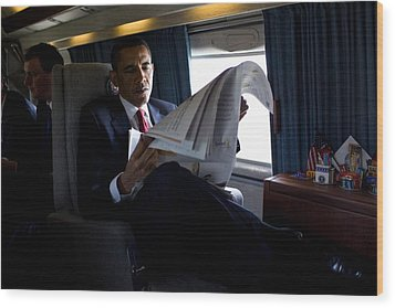 President Barack Obama Reading Wood Print by Everett