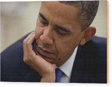 President Barack Obama Reads A Document Wood Print by Everett