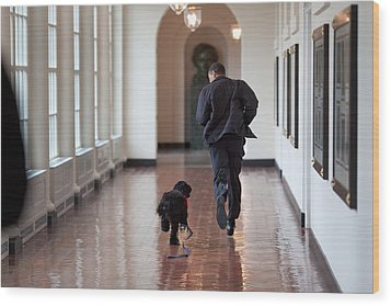 President Barack Obama Runs Wood Print by Everett