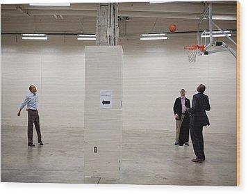 President Barack Obama Shoots Baskets Wood Print by Everett