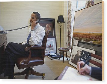 President Barack Obama Takes A Phone Wood Print by Everett