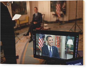 President Barack Obama Tapes The Weekly Wood Print by Everett