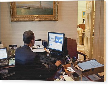 President Barack Obama Tests The New Wood Print by Everett