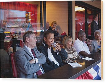 President Barack Obama Watches The 2009 Wood Print by Everett
