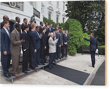 President Barack Obama Waves To Coach Wood Print by Everett