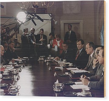 President Bush Participates In A Full Wood Print by Everett