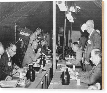 President Eisenhower Participates Wood Print by Everett