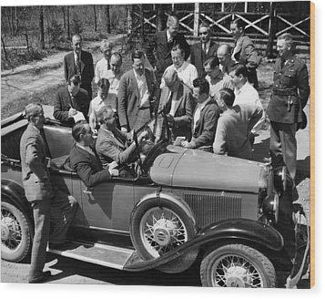 President Franklin D. Roosevelt In Car Wood Print by Everett