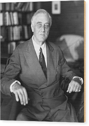 President Franklin Roosevelt The Day Wood Print by Everett
