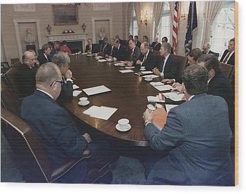 President George Bush Conducts A Full Wood Print by Everett