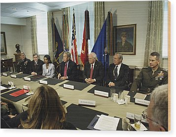 President George W. Bush And Members Wood Print by Everett