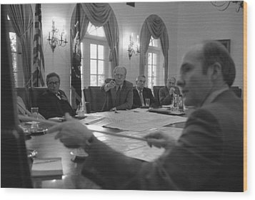President Gerald Ford And National Wood Print by Everett