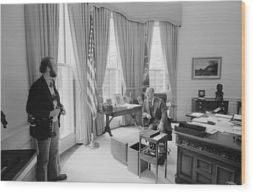 President Gerald Ford Chatting Wood Print by Everett