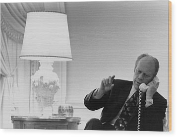 President Gerald Ford In The Second Wood Print by Everett