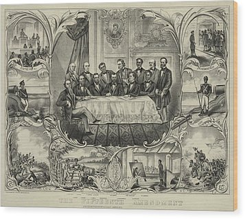 President Grant With Group Of Men Wood Print by Everett