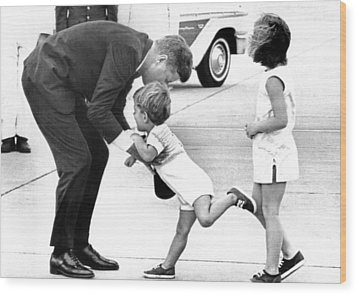 President John Kennedy Is Greeted Wood Print by Everett