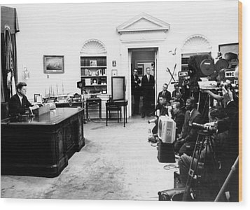 President John Kennedy Television Wood Print by Everett