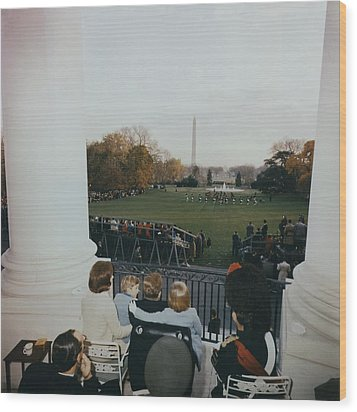 President Kennedy And His Family Watch Wood Print by Everett