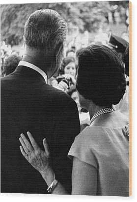 President Lyndon Johnson And Wife Lady Wood Print by Everett