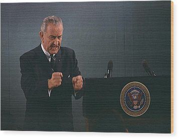 President Lyndon Johnson In An Emphatic Wood Print by Everett