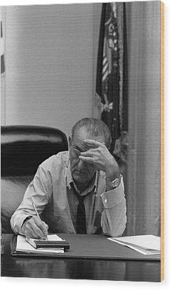President Lyndon Johnson Making Notes Wood Print by Everett