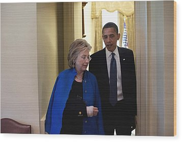 President Obama And Hillary Clinton Wood Print by Everett