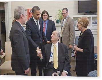 President Obama Greets James Brady Wood Print by Everett