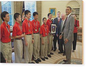 President Obama Greets Mathcounts Wood Print by Everett