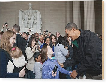 President Obama Greets Tourists Wood Print by Everett