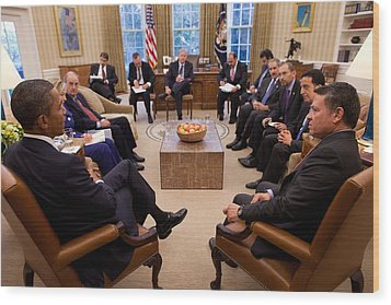 President Obama Holds Meeting Wood Print by Everett