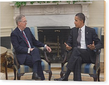 President Obama Meets With Senate Wood Print by Everett